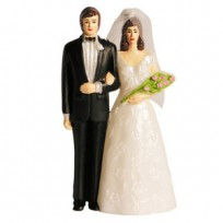 Свадебная фигура жених и невеста в фате с букетом 11см