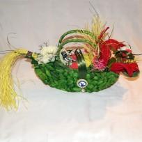 """Плетеная сумка """"Цветочный дракон с купидонами. Green"""""""